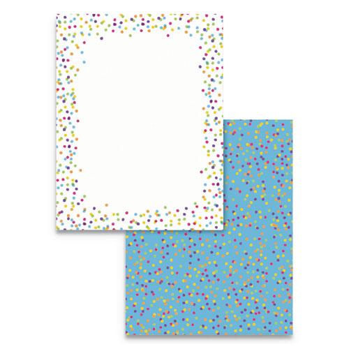 Pre-Printed Paper, 28 lb, 8.5 x 11, Watercolor Dots, 100/Pack