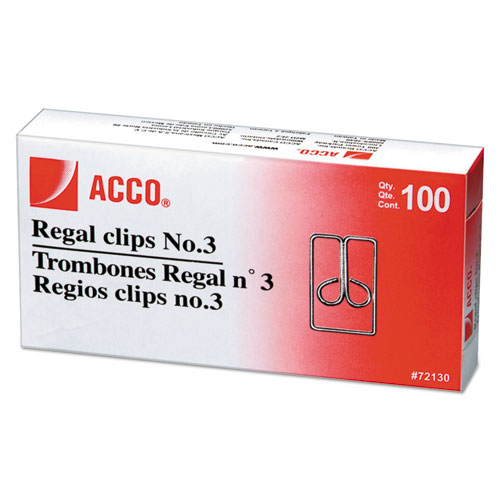Regal Clips, Medium (No. 3), Silver, 100/Box