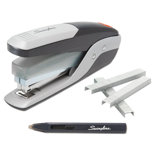 QuickTouch Reduced Effort Full Strip Stapler with 5,000 Staples, 28-Sheet Capacity, Black/Silver | by Plexsupply