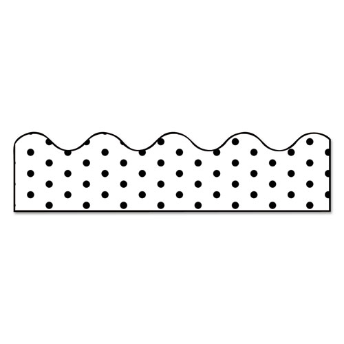 Scalloped Borders, 2.25 x 39 ft, White with Black Dots, 13/Pack