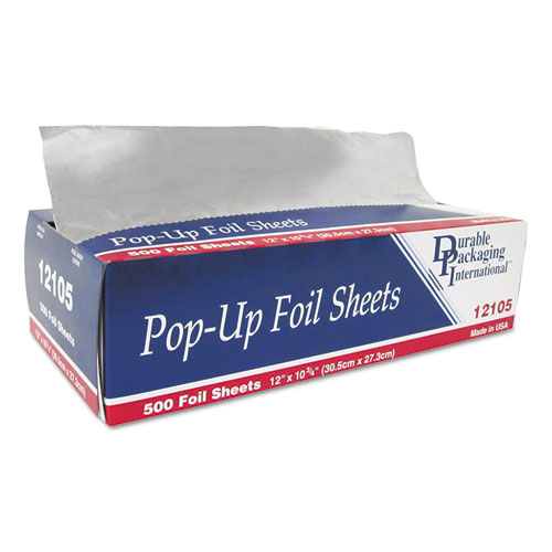 Pop-Up Aluminum Foil Sheets, 12 x 10 3/4, 500/Box, 6 Boxes/Carton