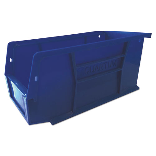 Plastic Stacking and Hanging Parts Bin, 3w x 7.4d x 4.1h, Blue, 24/Pack