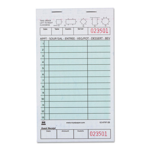 Guest Check Book, Two-Part Carbonless, 4 1/5 x 7 3/4, 1/Pages, 2000 Forms