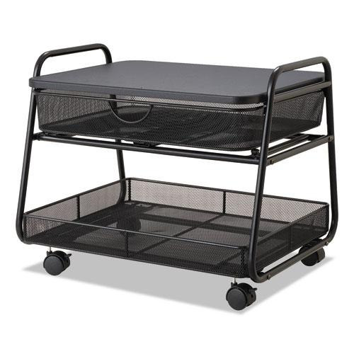 Onyx Under Desk Machine Stand, 2 Shelves, 21w x 16d x 17.5h, Black, 100-lb Capacity