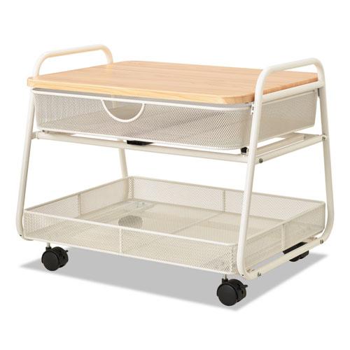 Onyx Under Desk Machine Stand, 2 Shelves, 21w x 16d x 17.5h, White, 100-lb Capacity