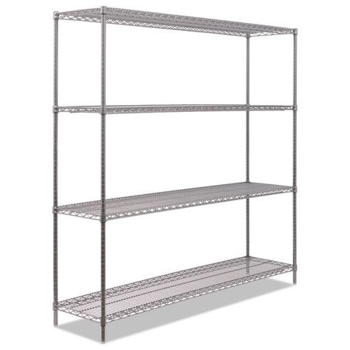 BA Plus Wire Shelving Kit, 4 Shelves, 72 x 18 x 72, Black Anthracite Plus