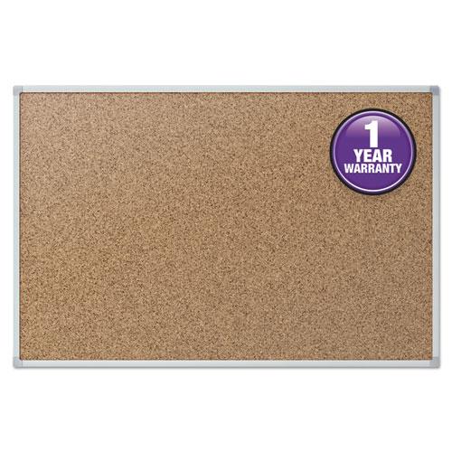 Cork Bulletin Board, 24 x 18, Silver Aluminum Frame | by Plexsupply