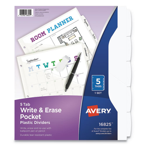 Write and Erase Durable Plastic Dividers with Pocket, 5-Tab, 11.13 x 9.25, White, 1 Set