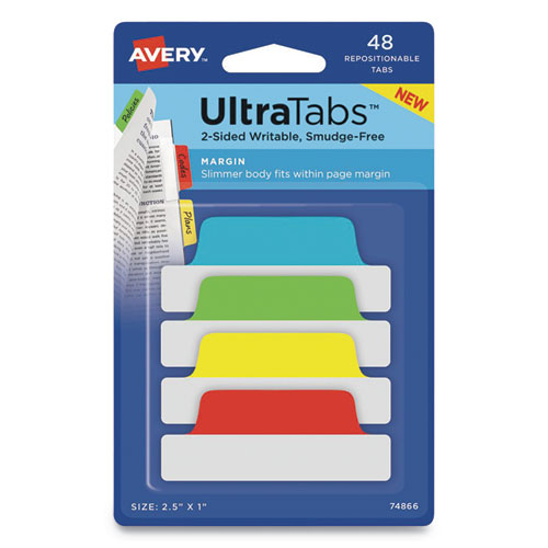 Ultra Tabs Repositionable Margin Tabs, 1/5-Cut Tabs, Assorted Primary Colors, 2.5 Wide, 48/Pack