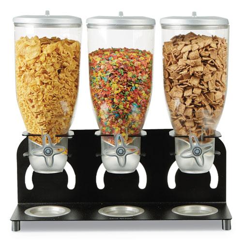 Heavy Duty Metal Cereal Triple Dispenser, 18 1/2w x 5.93d x 17 1/4h, Black/Clear