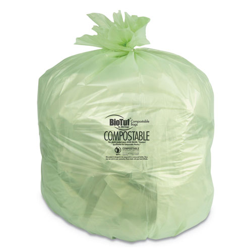 "Heritage Biotuf Compostable Can Liners, 13 gal, 0.88 mil, 24"" x 32"", Green, 200/Carton"
