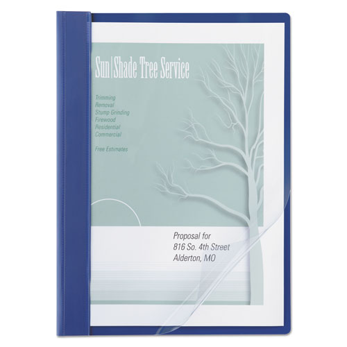 """Vinyl Report Cover, Prong Clip, Letter, 1/2"""" Capacity, Clear Cover/Blue Back 