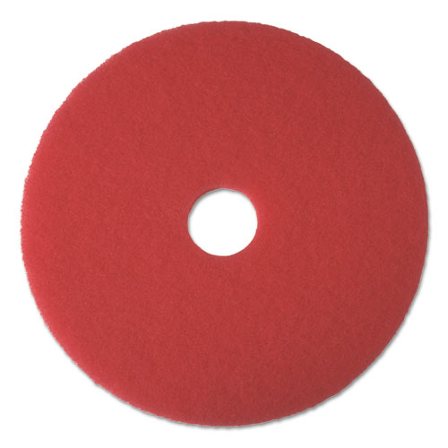 "Boardwalk® Buffing Floor Pads, 17"" Diameter, Red, 5/Carton"