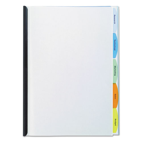 Polypropylene View-Tab Report Cover, Binding Bar, Letter, Holds 20 Pages, Clear | by Plexsupply