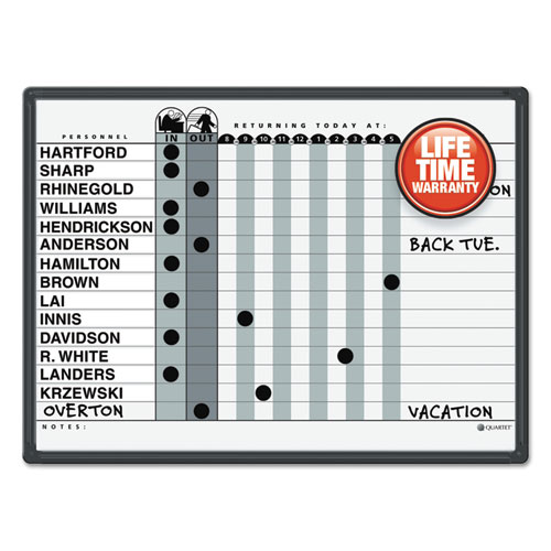Magnetic Employee In/Out Board, Porcelain, 24 x 18, Gray/Black, Aluminum Frame | by Plexsupply