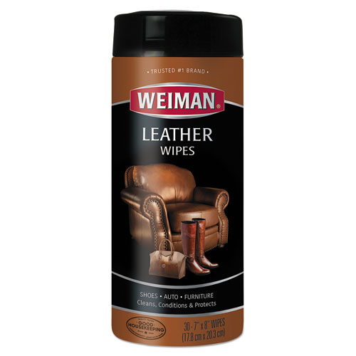 Leather Wipes, 7 x 8, 30/Canister