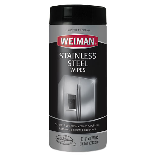 Stainless Steel Wipes, 7 x 8, 30/Canister
