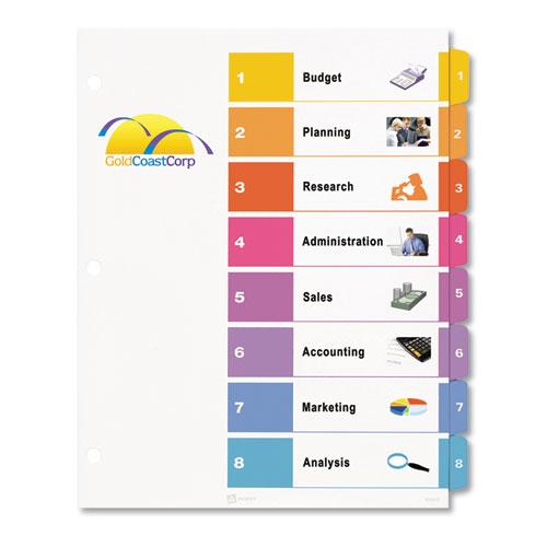 Customizable TOC Ready Index Multicolor Dividers 8 Tab Letter