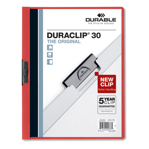 Vinyl DuraClip Report Cover w/Clip, Letter, Holds 30 Pages, Clear/Red, 25/Box | by Plexsupply