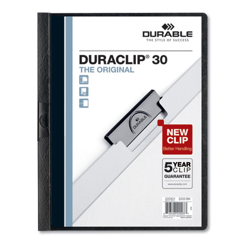 Vinyl DuraClip Report Cover w/Clip, Letter, Holds 30 Pages, Clear/Black, 25/Box | by Plexsupply