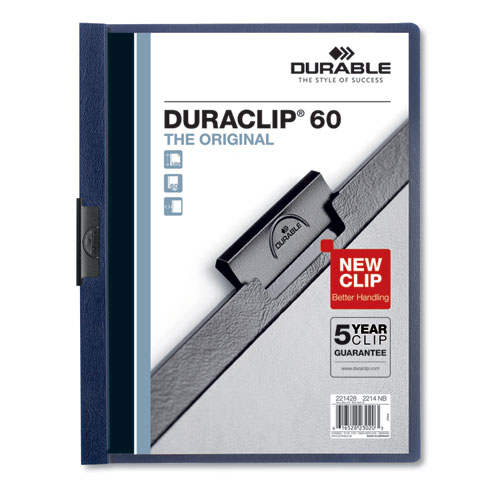 Vinyl DuraClip Report Cover w/Clip, Letter, Holds 60 Pages, Clear/Navy, 25/Box | by Plexsupply