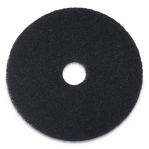 Stripping Floor Pads, 12 Diameter, Black, 5/Carton