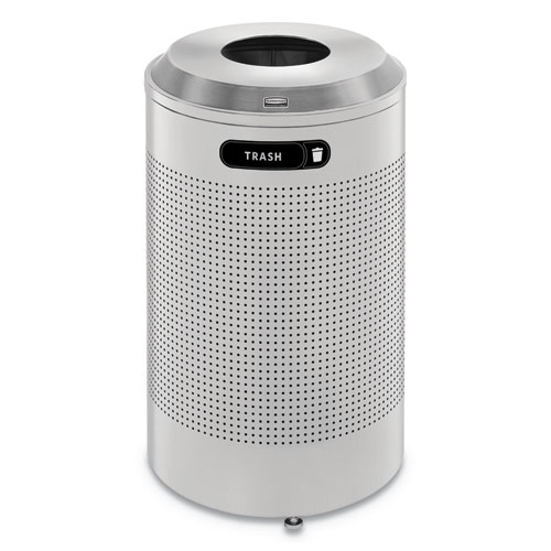 Rubbermaid® Commercial Silhouette Waste Receptacle, Round, Steel, 26 gal, Silver Metallic