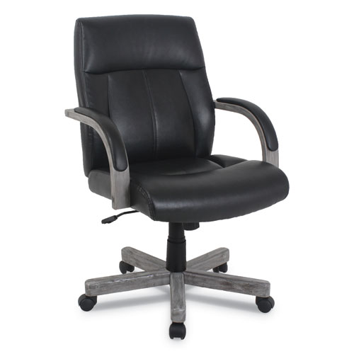 kathy ireland OFFICE by Alera Dorian Series Wood-Trim Leather Office Chair, Black Seat/Back, Gray Base