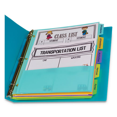 Index Dividers with Multi-Pockets, 5-Tab, 11.5 x 10, Assorted, 1 Set