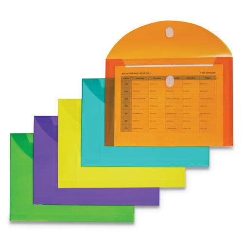 Reusable Poly Envelope, Hook  Loop Closure, 8.5 x 11, Assorted, 10/Pack