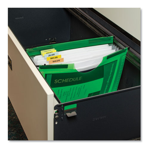 Expanding File w/ Hanging Tabs, 0.75 Expansion, 7 Sections, Letter Size, Green