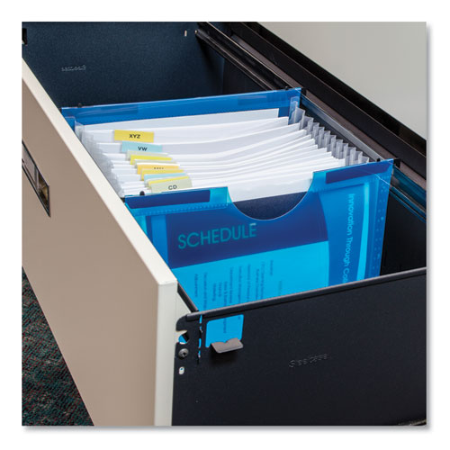 Expanding File w/ Hanging Tabs, 1 Expansion, 13 Sections, Letter Size, Blue