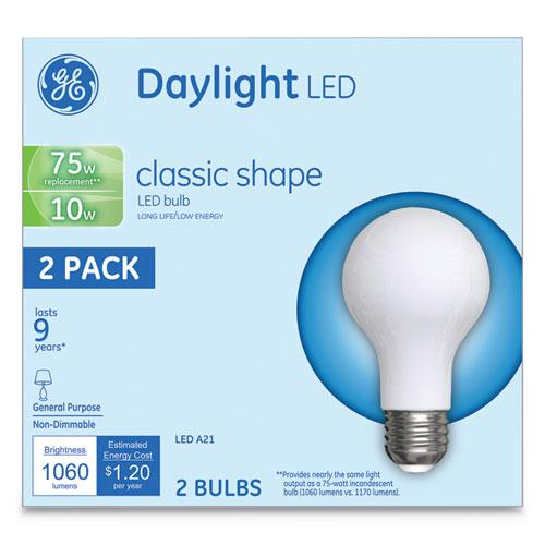 LED Classic Daylight A21 Light Bulb, 10 W, 2/Pack