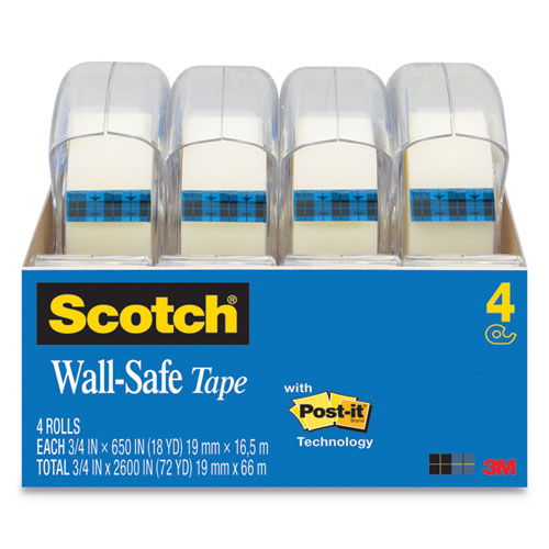 Wall-Safe Tape with Dispenser, 1 Core, 0.75 x 54.17 ft, Clear