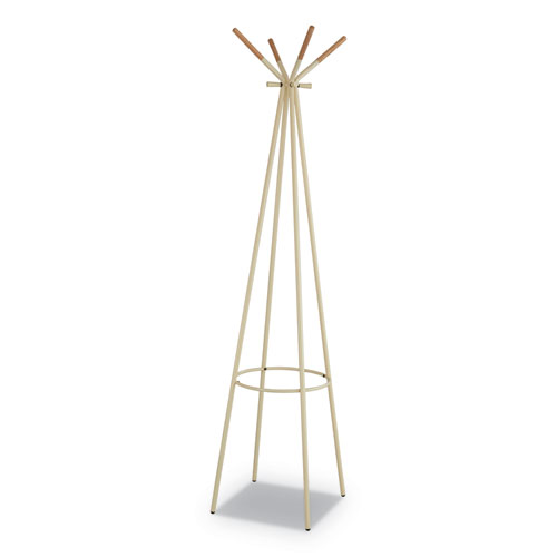 Family Coat Rack, 4 Garments, 16.5w x 16.5d x 72.75h, Cream