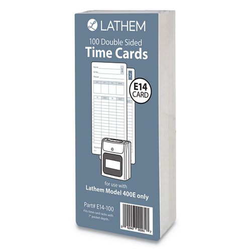 E14-100 Time Cards, Bi-Weekly/Monthly/Semi-Monthly/Weekly, Two Sides, 7