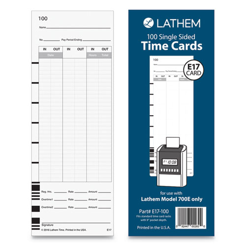 E17-100 Time Card, Bi-Weekly/Monthly/Semi-Monthly/Weekly, One Side, 9, 100/Pack