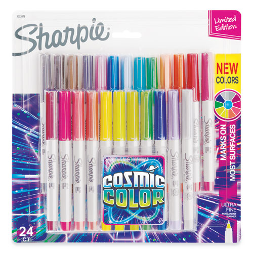 Cosmic Color Permanent Markers, Extra-Fine Needle Tip, Assorted Colors, 24/Pack