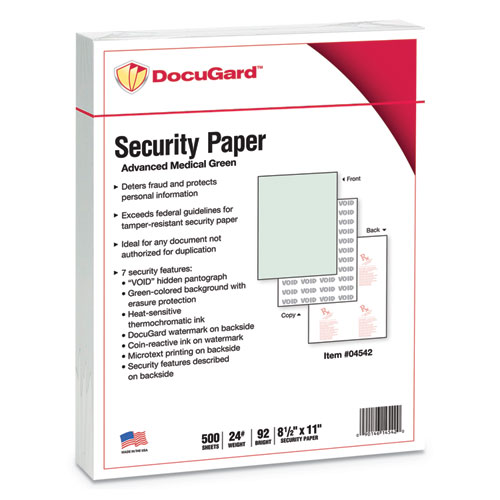 Advanced Medical Security Paper Green 7 Features 8 1 2 X 11