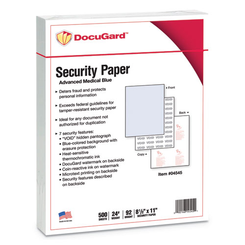 Medical Security Papers, 24lb, 8.5 x 11, Blue, 500/Ream | by Plexsupply