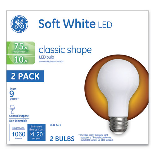 GE Classic LED Soft White Non-Dim A21, 10 W, 2/Pack