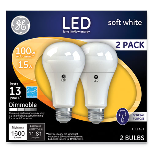 LED Soft White A21 Dimmable Light Bulb, 15 W, 2/Pack