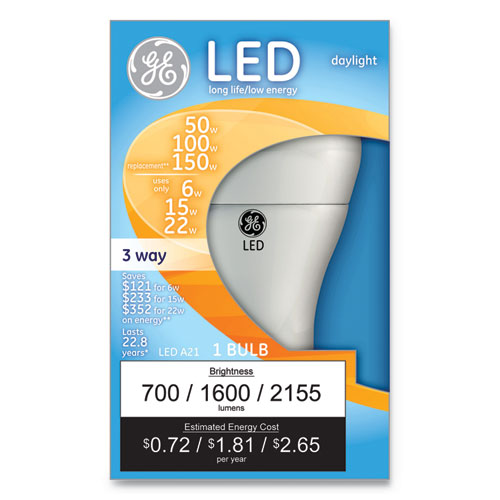 LED Daylight 3-Way A21 Light Bulb, 11 W