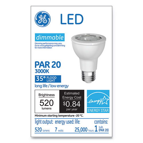 LED PAR20 Dimmable Warm White Flood Light Bulb, 3000K, 7 W