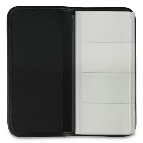 Business Card Holder, Vinyl, Black, 4 3/4 x 10 1/8