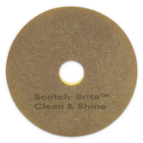 Clean and Shine Pad, 20 Diameter, Yellow/Gold, 5/Carton