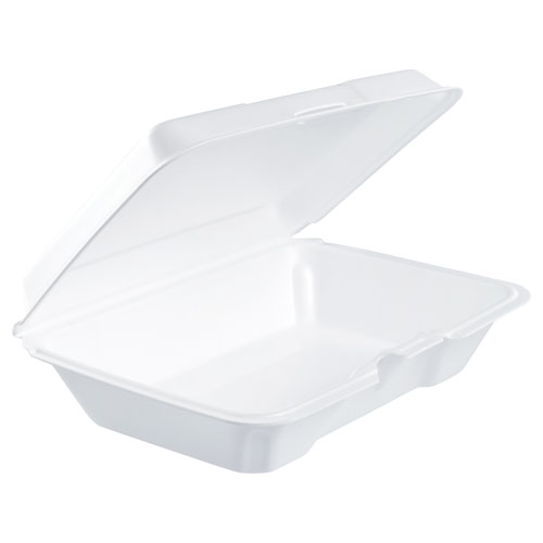 Dart® Foam Hinged Lid Containers, 6.4w x 9.3d x 2.6h, White, 200/Carton