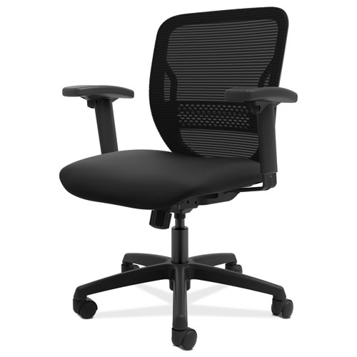 HON® Gateway Mid-Back Task Chair, Black Seat, Height-Adjustable Arms