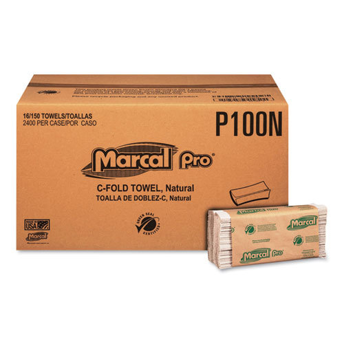 """Marcal PRO™ Folded Paper Towels, 1-Ply, 10 1/8"""" x 12 7/8 """", 150/Pack, 16 Packs/CT"""