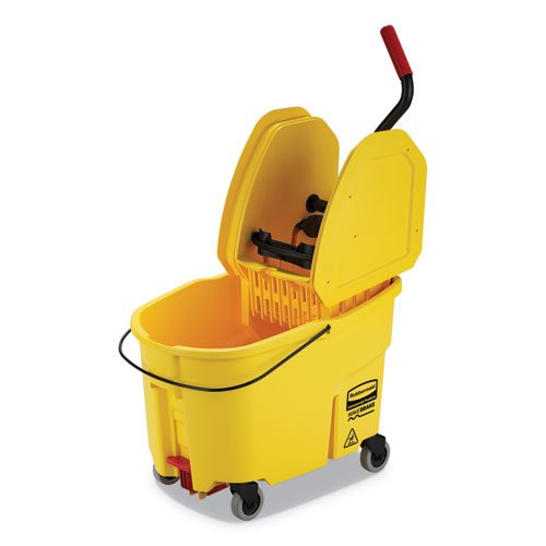 Rubbermaid® Commercial WaveBrake 2 0 Bucket/Wringer Combos, Down-Press, 44  qt, Plastic, Yellow